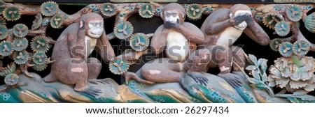 the wise three apes / monkeies - stock photo