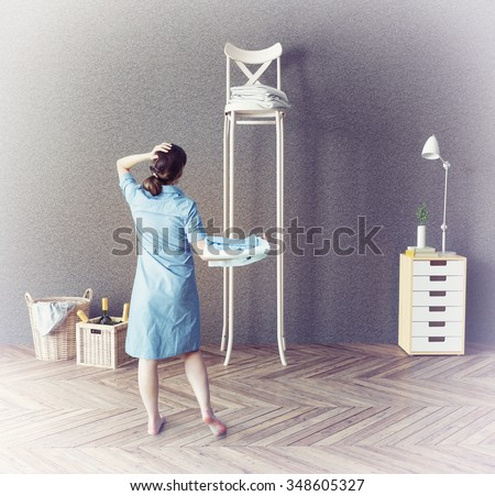 the woman and the long chair  in the room. Photo-combination  concept - stock photo