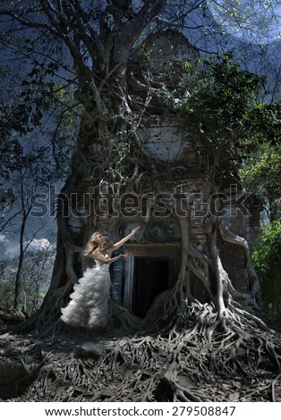 The woman in a wedding dress worships to the Moon at an entrance to the thrown temple, night, Cambodia - stock photo