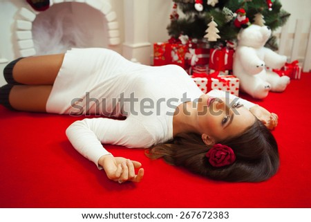 The woman meets new year alone. - stock photo