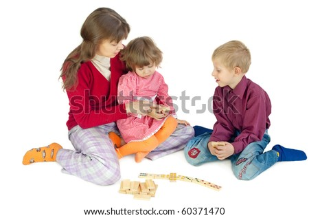 The woman play  with children - stock photo