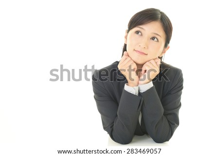 The woman who smiling happy - stock photo