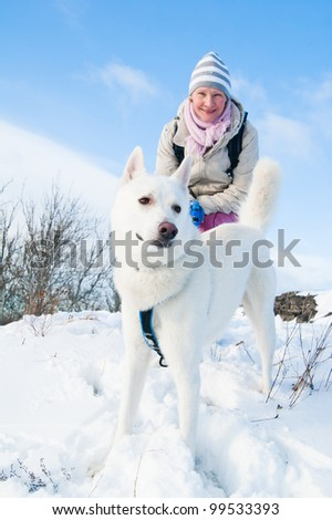 The woman with a dog in winter on walk - stock photo