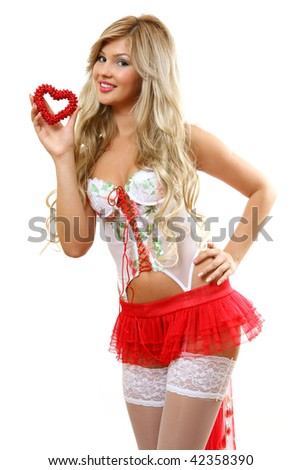 The woman with heart - stock photo