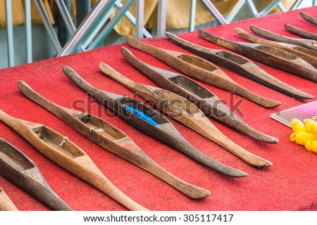 the wood boat equipment for loom - stock photo