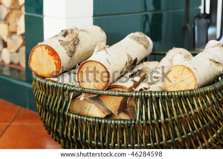 The wood in the basket - stock photo