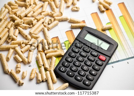 the wood pellets as ecological and economical heating - stock photo