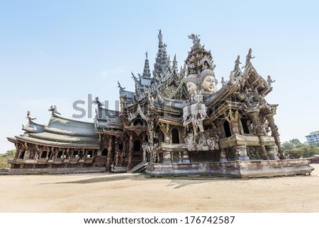 The Wood Sanctuary of Truth in Pattaya, Chonburi, Thailand - stock photo