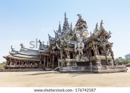 The Wood Sanctuary of Truth in Pattaya, Chonburi, Thailand - stock photo