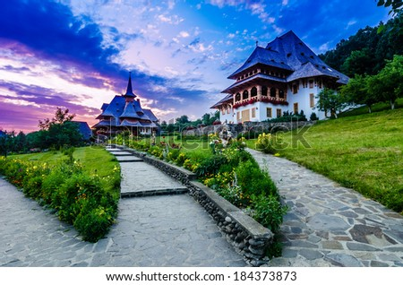 The Wooden Churches,orthodoxes,in the Maramures region, the northern part of the country.The Maramures churches are high timber constructions with slim bell towers at the western end of the building - stock photo