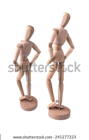 The wooden model of the person symbolizing a healthy slim figure on the white isolated background - stock photo