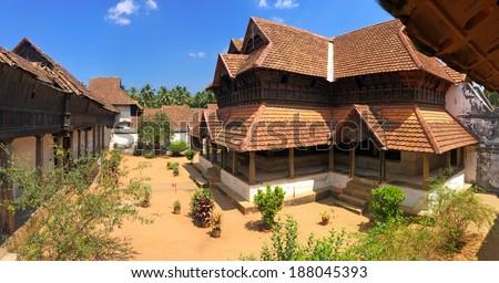 The wooden palace Padmanabhapuram of the maharaja in Trivandrum  - stock photo