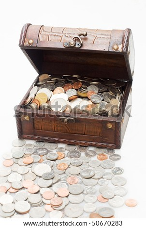 the wooden treasure box loaded with coins - stock photo
