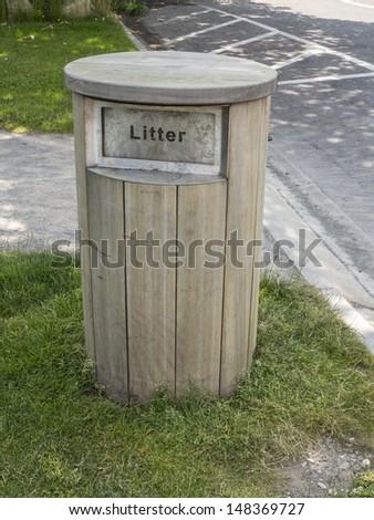 the wooden waste bin - stock photo