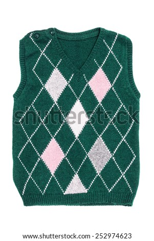 The woolen children's green vest with rhombuses isolated on the white - stock photo