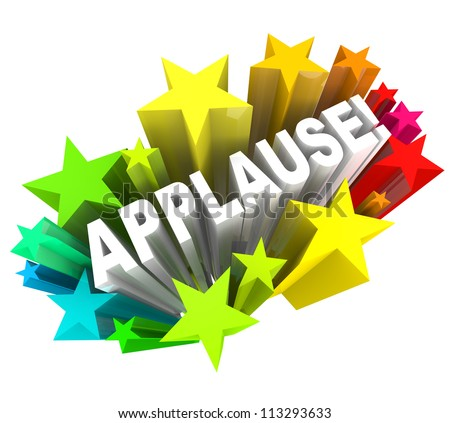 The word Applause surrounded by colorful stars to symbolize support, enthusiasm, approval, ovation,  or other positive reaction or feedback - stock photo