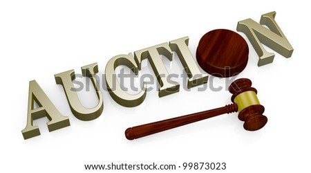 the word: auction with a gavel like those used on auctioning (3d render) - stock photo