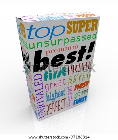 The word Best and many others representing high regard and accolades on a product box, such as top, unrivaled, perfect, premier, unsurpassed, perfect, great, most, first, and more - stock photo