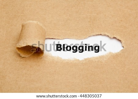 The word Blogging appearing behind ripped brown paper.  - stock photo