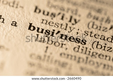 The word business. Close-up of the word business in a dictionary. - stock photo