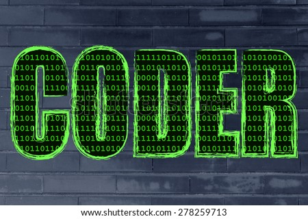 the word Coder with a binary code pattern fill and chalk-like strokes - stock photo