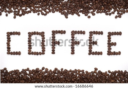 The word Coffee spelled with hundreds of coffee beans. Isolated against white background with frame - stock photo