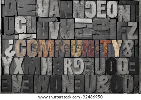 The word community written out in old letterpress blocks. - stock photo