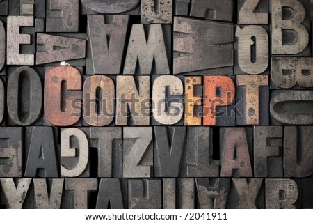 The word 'Concept' spelled out in very old letterpress blocks. - stock photo