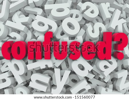 The word Confused on a background of letters to illustrate the feeling of being lost, disoriented, puzzled or bewildered - stock photo