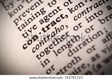 """The word """"Contract"""" in a dictionary - stock photo"""