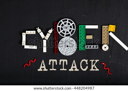 The word Cyber attack.Two flags of EU and Russia. Top view - stock photo