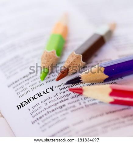 The word DEMOCRACY - stock photo