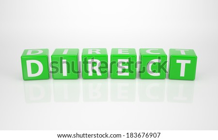 The Word Direct out of green Letter Dices - stock photo