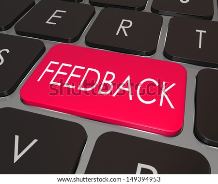The word Feedback on a laptop computer keyboard key to illustrate the ability to comment, suggest ideas, offer a criticism or review - stock photo