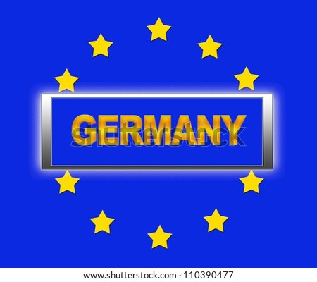 The word Germany and flag of Europe . - stock photo