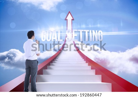 The word goal setting and businessman holding glasses against red steps arrow pointing up against sky - stock photo