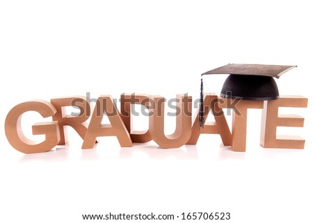 "The word "" graduate "" with the hat on a white background - stock photo"