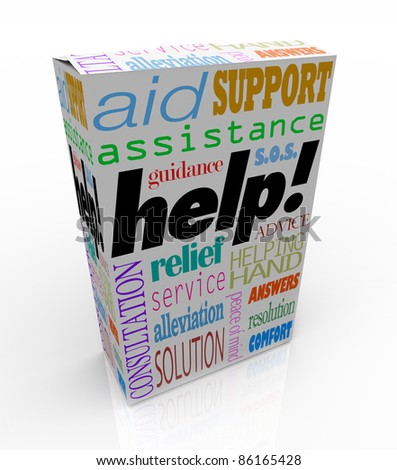 The word Help and many others representing customer support -- assistance, relief, service, consultation, solution, peace of mind, assistance, guidance, resolution, answers, comfort, advice, and more - stock photo