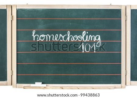 The word homeschooling and numbers 101 written on a chalkboard - stock photo