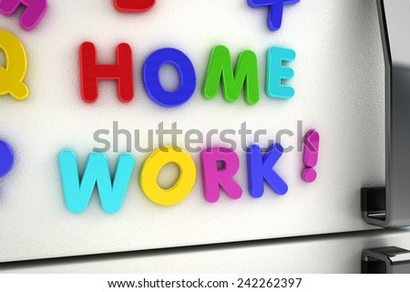 The word homework written on a refrigerator door with magnet letters - stock photo