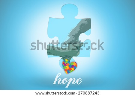 The word hope and elderly couple holding hands against blue background with vignette - stock photo
