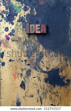 The word Idea written in antique letterpress printing blocks. - stock photo