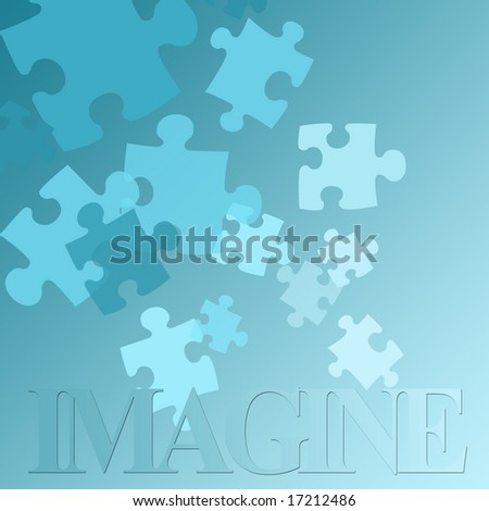 """The word """"imagine"""" with puzzle pieces. - stock photo"""