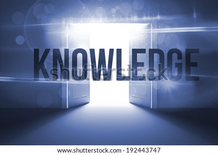 The word knowledge against doors opening revealing light - stock photo