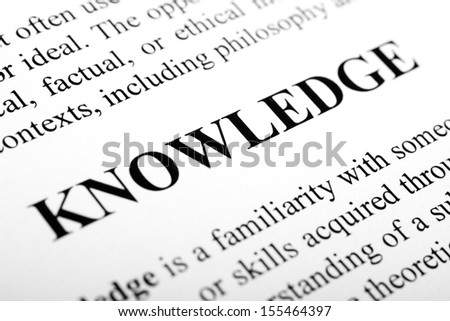 The word Knowledge shot with artistic selective focus. - stock photo
