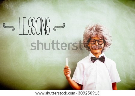 The word lessons against boy dressed as senior teacher in front of blackboard - stock photo