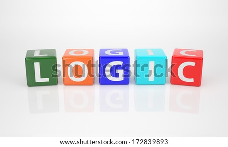 The Word Logic out of multicolored Letter Dices - stock photo