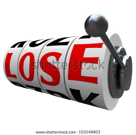 The word Lose spelled out in letters on slot machine wheels to indicate  you have lost the game or competition, or are the loser in a financial investment or gamble - stock photo