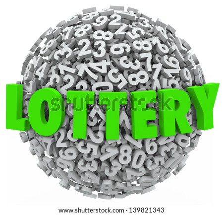 The word Lottery in green letters on a sphere of numbers to illustrate gambling on a raffle or other betting game to win money - stock photo
