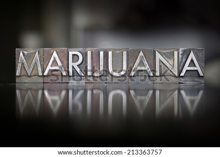 The word Marijuana written in vintage letterpress type - stock photo
